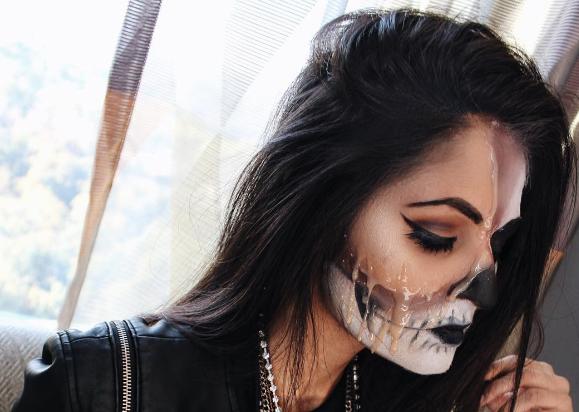 Last Minute Halloween Makeup: The Melting Skull -